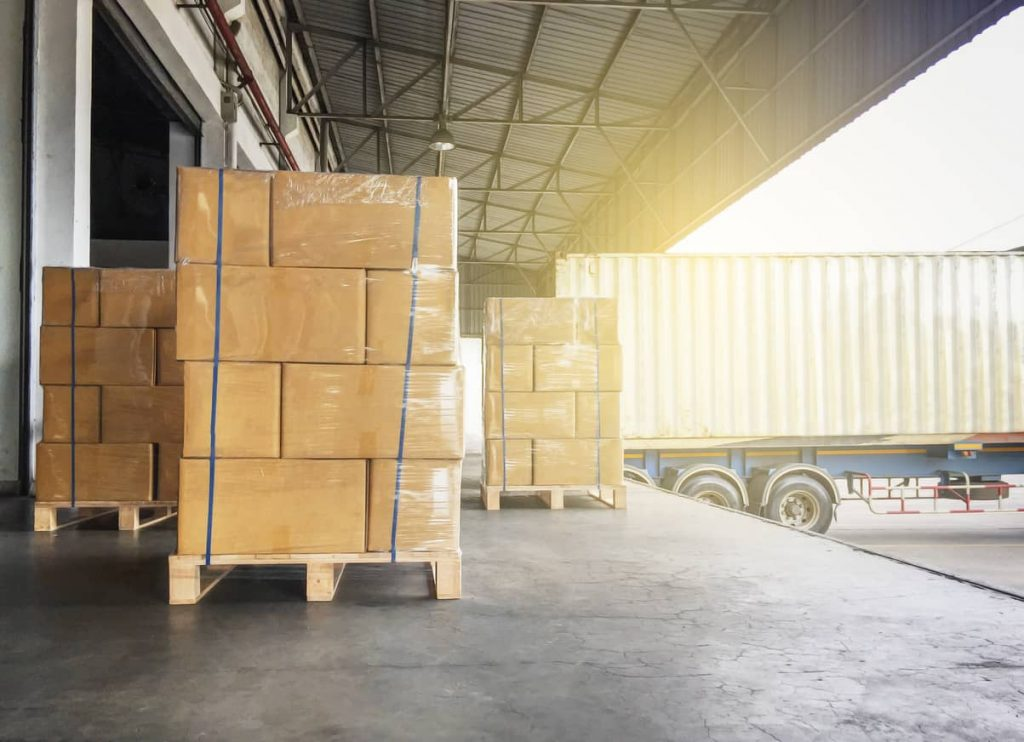 warehouse shipment of cardboard boxes